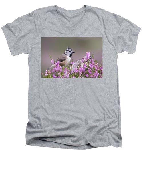 Crested Tit In Heather Men's V-Neck T-Shirt