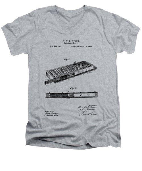 Cribbage Board 1879 Patent Art Transparent Men's V-Neck T-Shirt
