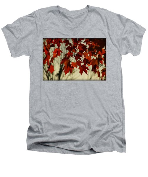 Men's V-Neck T-Shirt featuring the photograph Crimson Red Autumn Leaves by Chris Berry