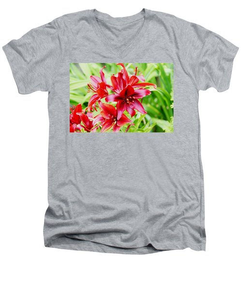 Crimson Lilies Men's V-Neck T-Shirt