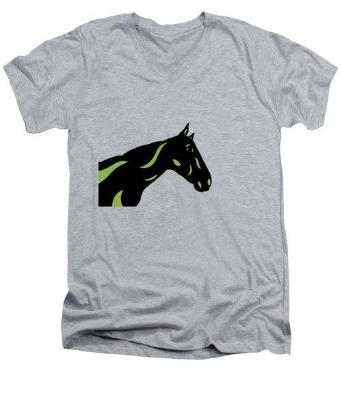 Crimson - Pop Art Horse - Black, Greenery, Purple Men's V-Neck T-Shirt