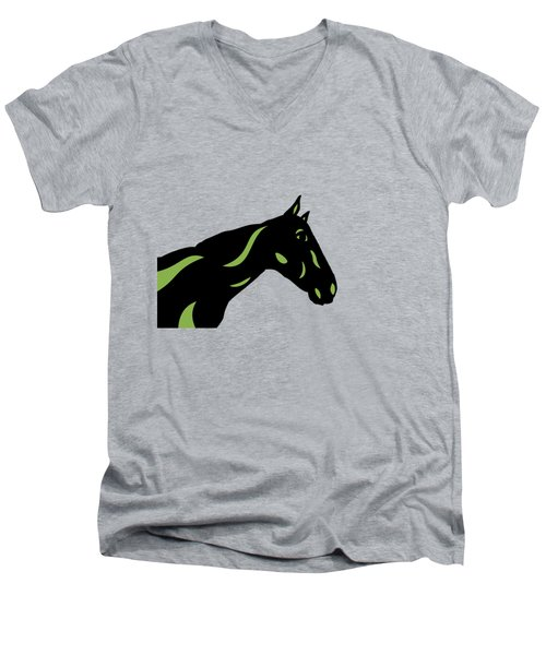 Crimson - Pop Art Horse - Black, Greenery, Purple Men's V-Neck T-Shirt