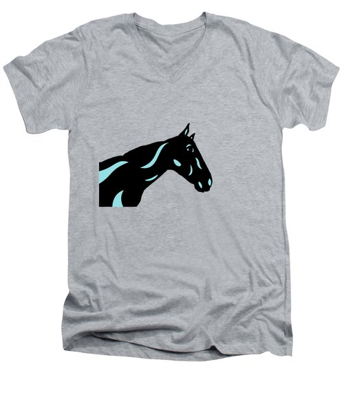Crimson - Pop Art Horse - Black, Island Paradise Blue, Primrose Yellow Men's V-Neck T-Shirt