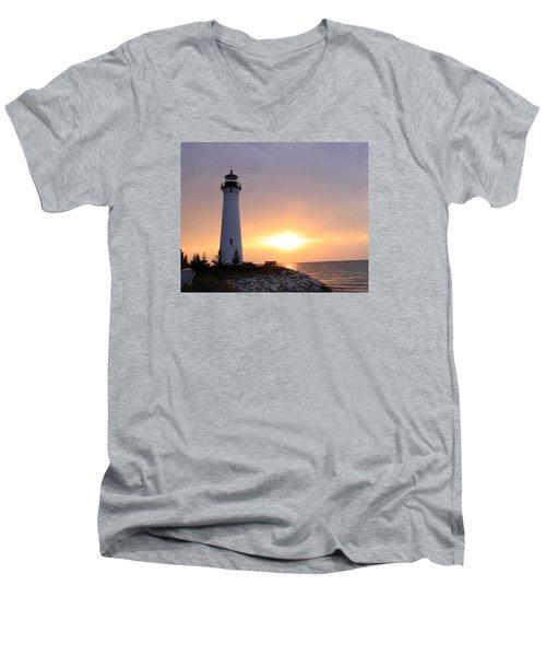 Crisp Point Lighthouse At Sunset Men's V-Neck T-Shirt