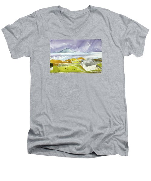 Croagh Patrick And Purple Sky Men's V-Neck T-Shirt