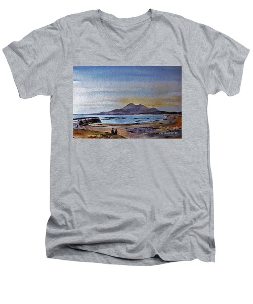 F801  Croagh Patrick From Old Head, Mayo Men's V-Neck T-Shirt