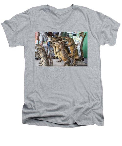 Crocodiles Rock  Men's V-Neck T-Shirt by Chuck Kuhn