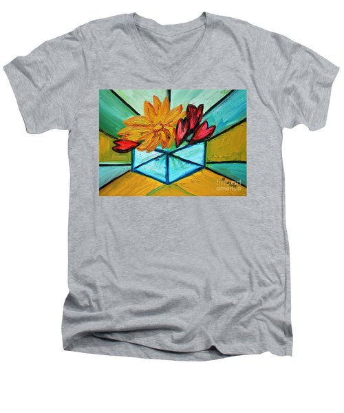 Cubes Men's V-Neck T-Shirt by Ramona Matei