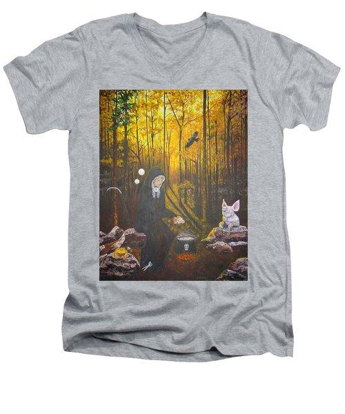 Crone Goddess Keridwen - Samhain Men's V-Neck T-Shirt