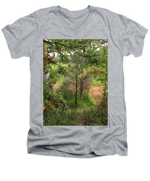 Men's V-Neck T-Shirt featuring the photograph Crooked Creek Woods by Kimberly Mackowski