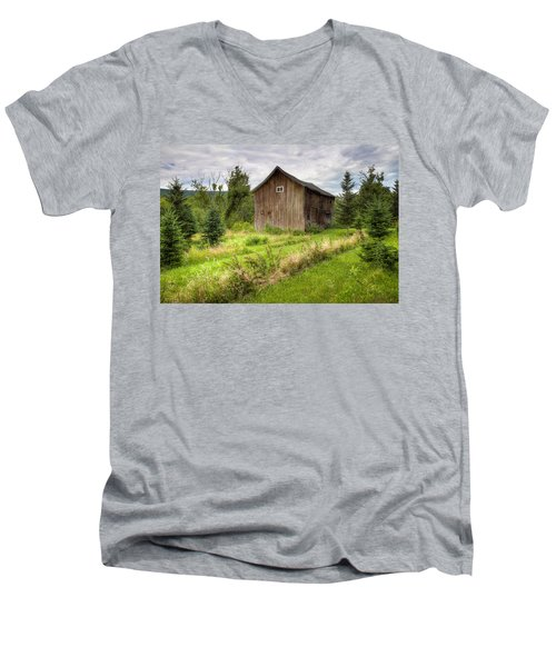 Men's V-Neck T-Shirt featuring the photograph Crooked Old Barn On South 21 - Finger Lakes New York State by Gary Heller