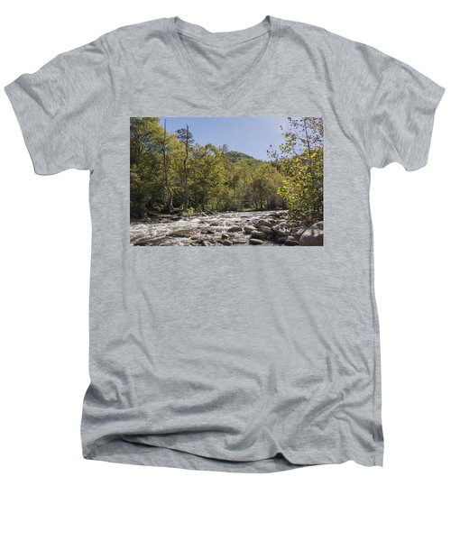Crooked Tree Curve Men's V-Neck T-Shirt by Ricky Dean