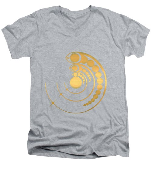 Crop Circle Formation Near Avebury Stone Circle In Wiltshire England In Gold Men's V-Neck T-Shirt