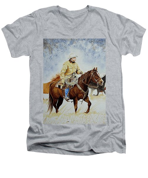 Cropped Ranch Rider Men's V-Neck T-Shirt