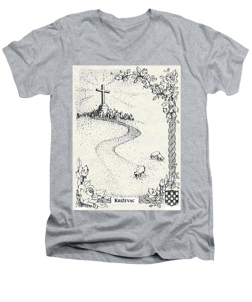 Men's V-Neck T-Shirt featuring the drawing Cross Mt, Medjugorje  by Christina Verdgeline
