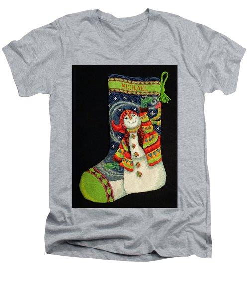 Cross-stitch Stocking Men's V-Neck T-Shirt