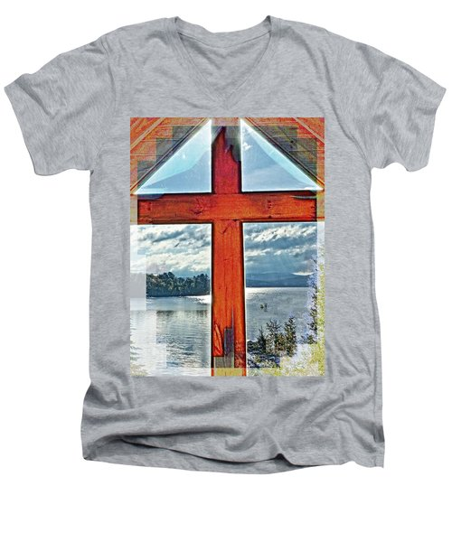Cross Window Lake View  Men's V-Neck T-Shirt