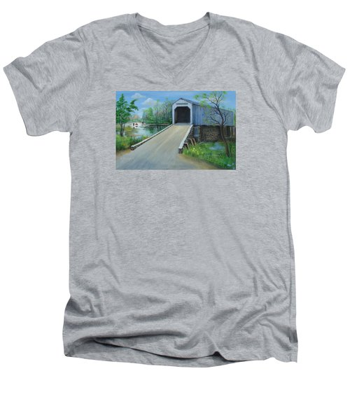 Crossing At The Covered Bridge Men's V-Neck T-Shirt by Oz Freedgood