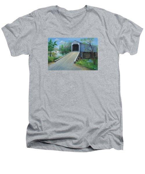 Crossing At The Covered Bridge Men's V-Neck T-Shirt