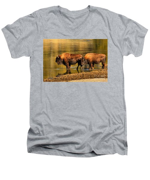 Men's V-Neck T-Shirt featuring the photograph Crossing Partners by Adam Jewell