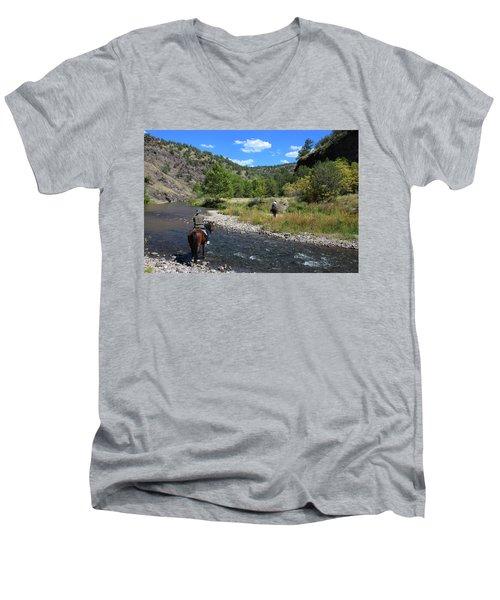 Crossing The Gila On Horseback Men's V-Neck T-Shirt