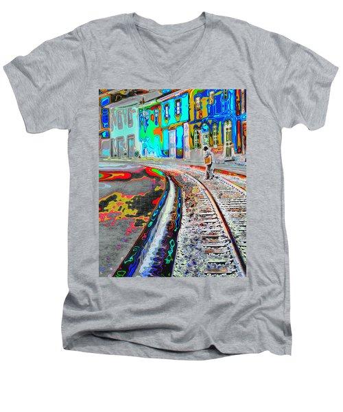 Crossing The Tracks Men's V-Neck T-Shirt