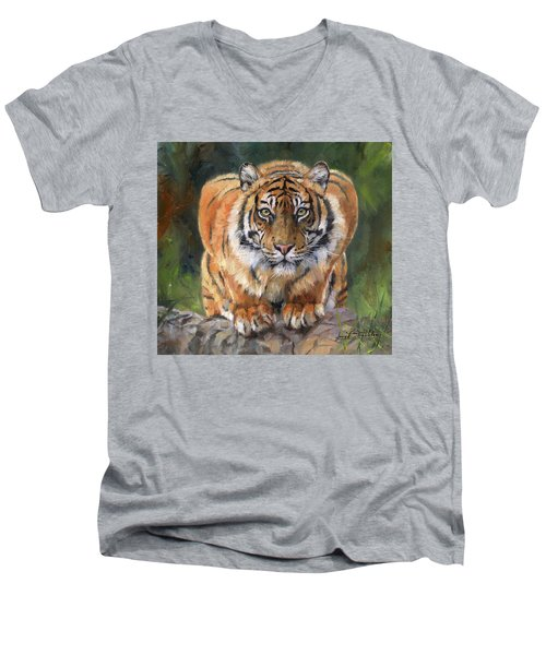 Men's V-Neck T-Shirt featuring the painting Crouching Tiger by David Stribbling