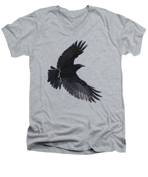 Men's V-Neck T-Shirt featuring the photograph Crow In Flight by Bradford Martin