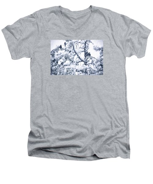 Crows In Snow Men's V-Neck T-Shirt