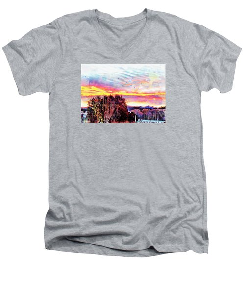 Crows Over Pre Dawn El Valle Men's V-Neck T-Shirt by Anastasia Savage Ealy