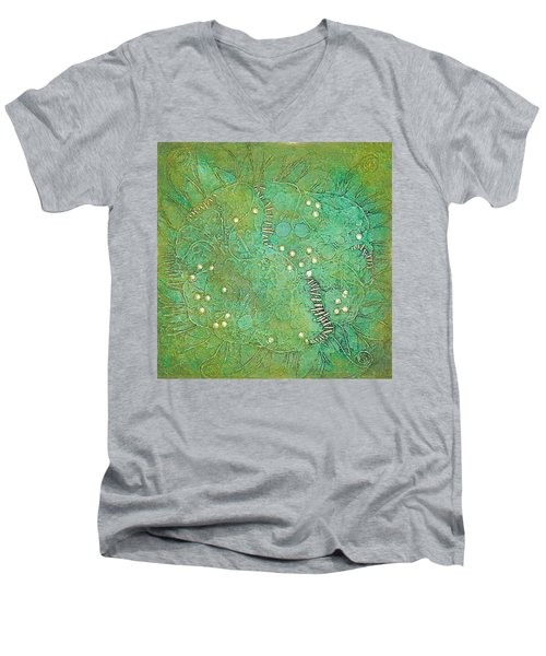 Men's V-Neck T-Shirt featuring the mixed media Cruciferous Flower by Bernard Goodman