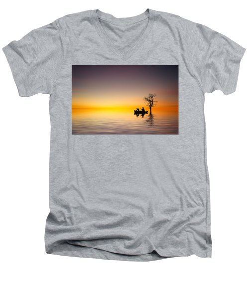 Men's V-Neck T-Shirt featuring the pyrography Cruise by Bess Hamiti