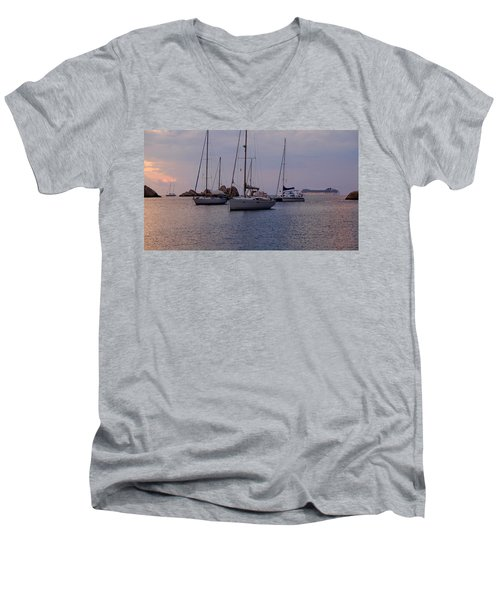 Cruise Liner Passing Men's V-Neck T-Shirt