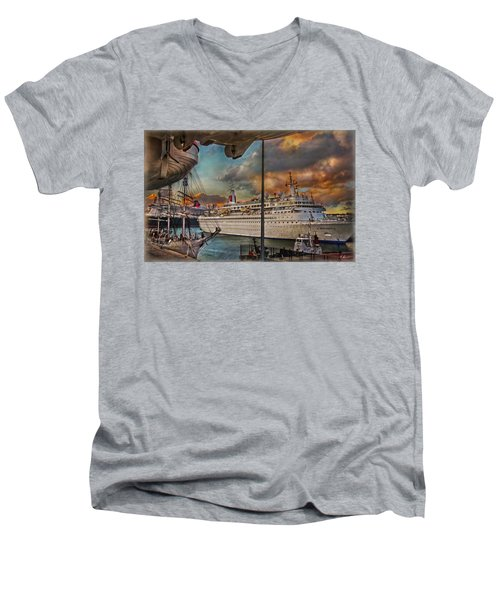 Men's V-Neck T-Shirt featuring the photograph Cruise Port by Hanny Heim