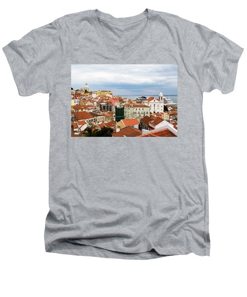 Men's V-Neck T-Shirt featuring the photograph Cruise Ship Peeks by Lorraine Devon Wilke