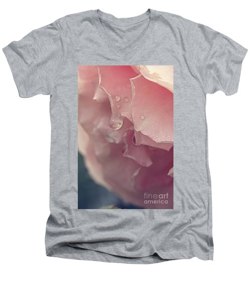 Men's V-Neck T-Shirt featuring the photograph Crying In The Rain by Linda Lees