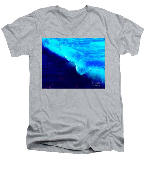 Crystal Blue Wave Painting Men's V-Neck T-Shirt by Catherine Lott