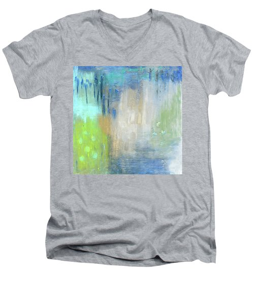 Men's V-Neck T-Shirt featuring the painting Crystal Deep  by Michal Mitak Mahgerefteh
