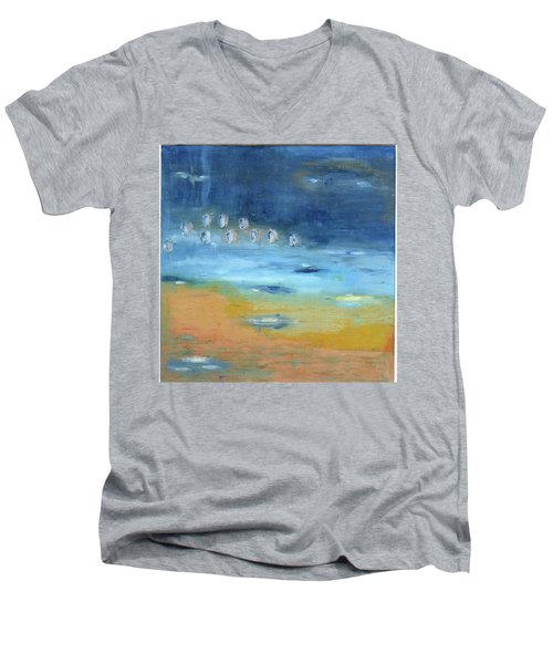 Men's V-Neck T-Shirt featuring the painting Crystal Deep Waters by Michal Mitak Mahgerefteh