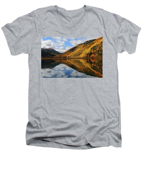 Crystal Lake Autumn Reflection Men's V-Neck T-Shirt by Jetson Nguyen