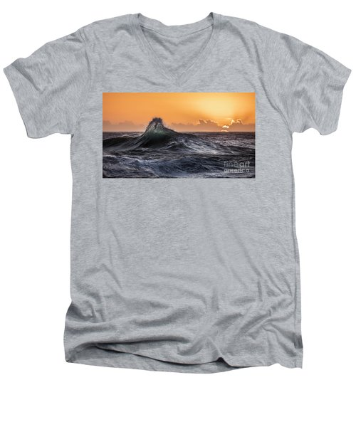 Crystal Wave Sunset Napali Coast Kauai Hawaii Men's V-Neck T-Shirt