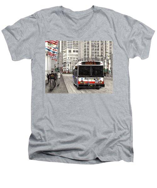 Cta Bus On Michigan Avenue Men's V-Neck T-Shirt