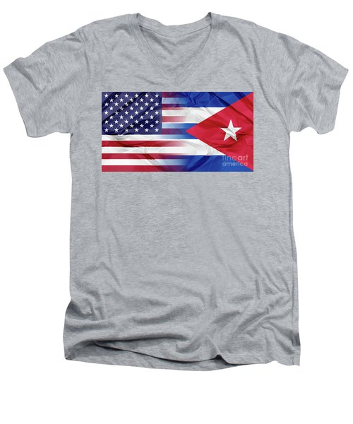 Cuba And Usa Flags Men's V-Neck T-Shirt