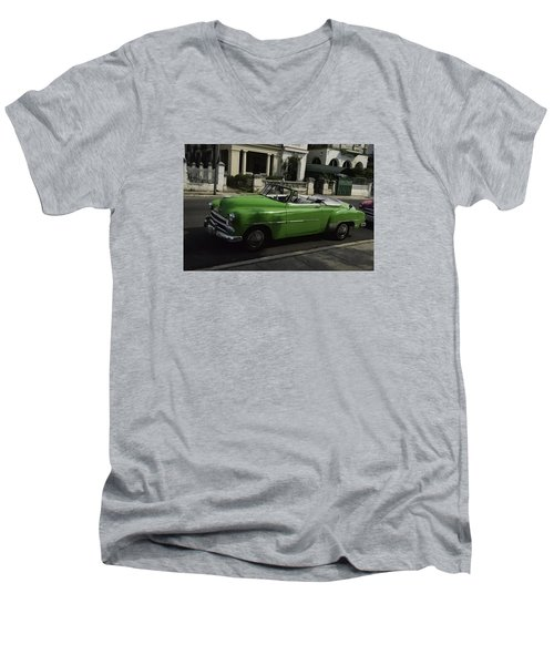 Cuba Car 3 Men's V-Neck T-Shirt by Will Burlingham