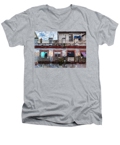 Men's V-Neck T-Shirt featuring the photograph Cuban Woman At Calle Bernaza Havana Cuba by Charles Harden