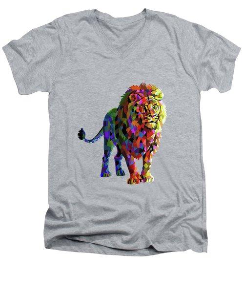 Geometrical Lion King Men's V-Neck T-Shirt