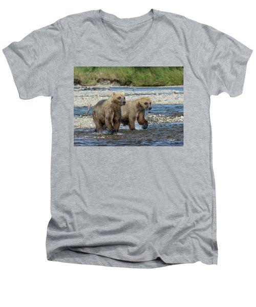 Cubs On The Prowl Men's V-Neck T-Shirt