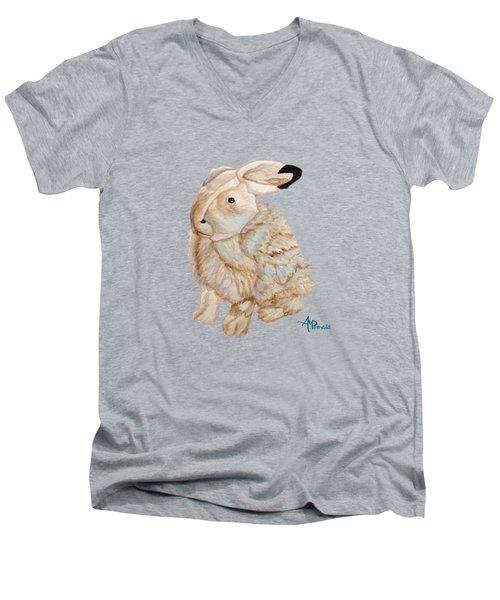 Cuddly Arctic Hare II Men's V-Neck T-Shirt