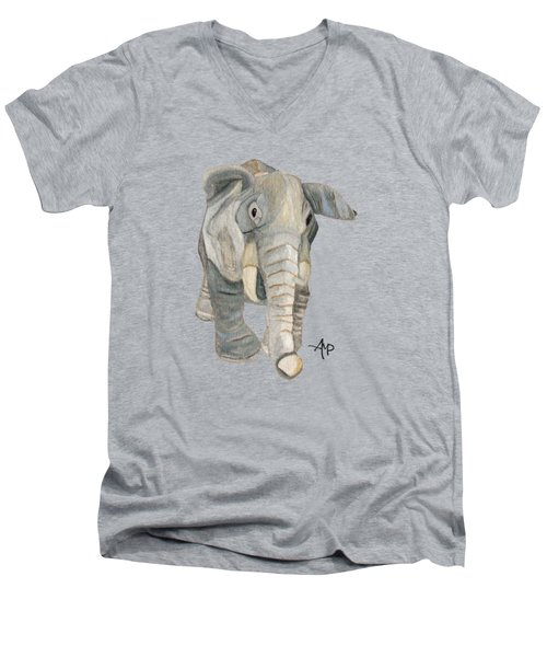 Cuddly Elephant Men's V-Neck T-Shirt by Angeles M Pomata