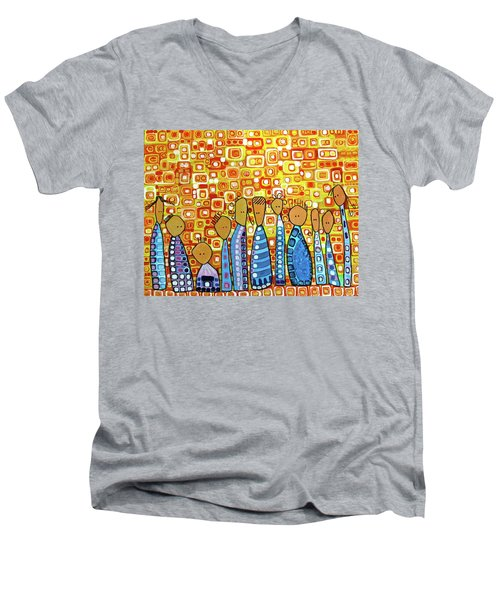 Men's V-Neck T-Shirt featuring the painting cue by Donna Howard